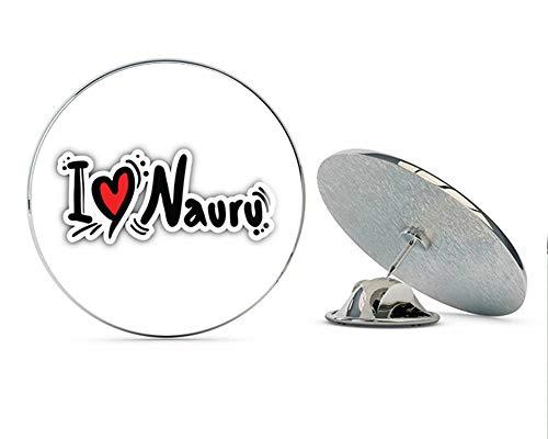 """I Love Nauru Slogan Round Metal 0.75"""" Lapel Pin Hat Shirt Pin Tie Tack Pinback"""