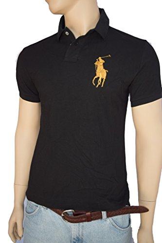 Polo Ralph Lauren Men's Gold Big Pony, Gold #3 Short Sleeve Shirt Black (M -U.S. Standard size)