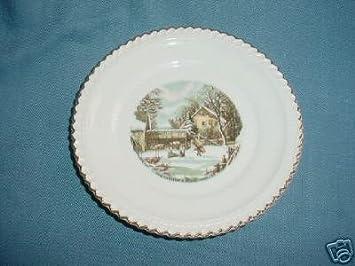 Amazon.com   Porcelain Harkerware Currier & Ives Plate: Dinner ...