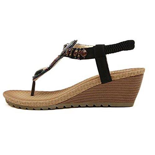 Bohemian Sandalias Mujer Clip De Sweet Black Moda Beaded Toe Flats vvrq87wAU