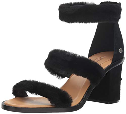 À Femme Rey Del Peau En Noir Lanières De Talon Mouton W Ugg1095489 Chaussures 5T456