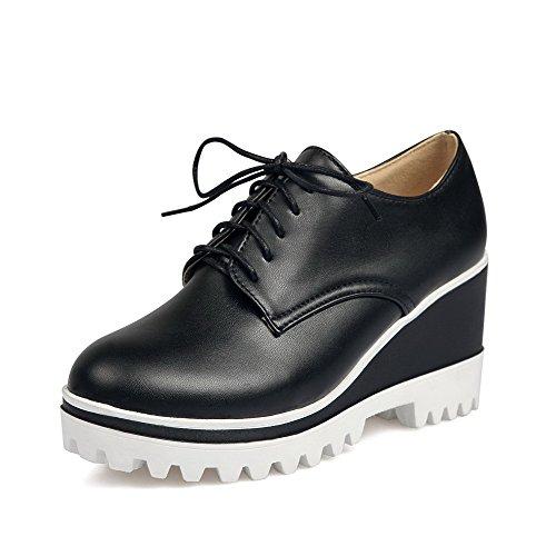 Alto Lacci Pompe talloni shoes Weipoot toe Round Nero Solidi Delle Donne Pu paq1pr