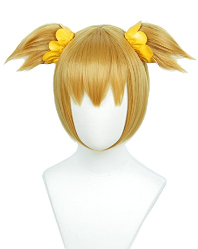Linfairy Blonde Wig Halloween Cosplay Wig For Women With Two Hair Ties