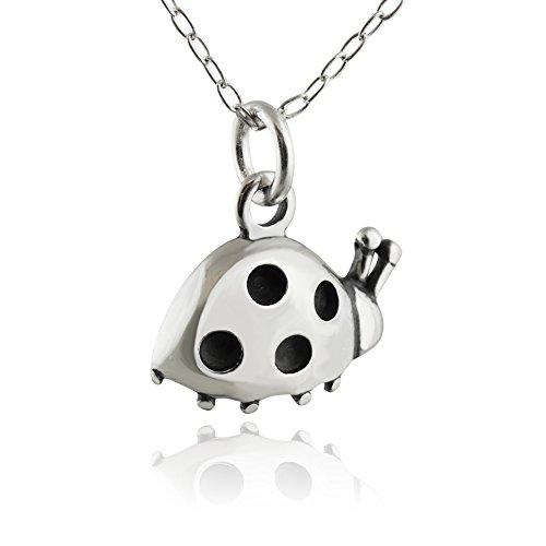 (Sterling Silver Tiny Ladybug Pendant Necklace, 18