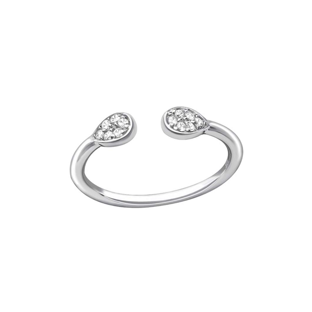 Polished Nickel Free Liara Open Pear Jeweled Rings 925 Sterling Silver