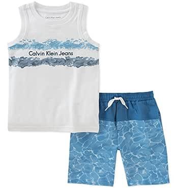 Calvin Klein Baby Boys 2 Pieces Muscle Top Short Set, White/Blue, 12M