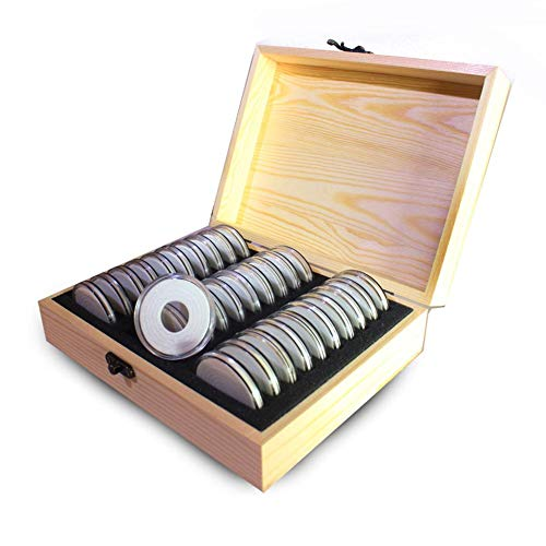 PROKTH Coin Cases,Coin Storage Box, 30 Grids Coin Holder Case with Storage Wooden Box Coin Collection Supplie for Commemorative Coins Medals - Yellow Coin Case