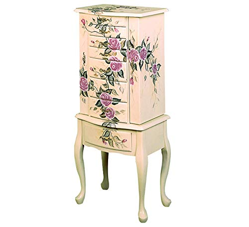 Wood & Style Painted Jewelry Armoire Off White Comfy Living Home Décor Furniture Heavy Duty