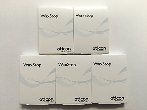 (5 Packs) Oticon Wax Stop Filters in the New Style Package with EASY GRIP applicator. by Oticon by Oticon