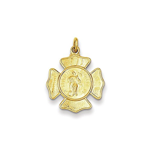 - .925 Sterling Silver and 24k Gold-Plated St. Florian Fireman's Badge Medal Charm Pendant