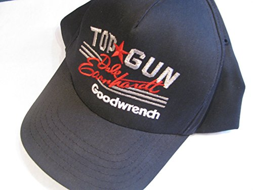 Vintage Small-Medium Adult Classic Collectors Dale Earnhardt Sr Top Gun Hat Cap Black With Red & Silver Accents Hat Cap Adjustable Plastic Snapback Strap Sports ()