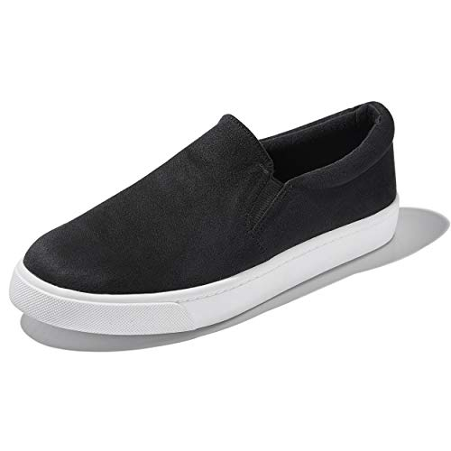 DailyShoes Unisex Flat Memory Foam Slip On Sneakers Shoes Mid Fashion Pierced Casual Tourism Work Casual Slip-On Loafers Sneakers Shoes Black,S,V,7.5