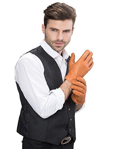 YISEVEN Men's Deerskin Leather Dress Gloves Cashmere Line...