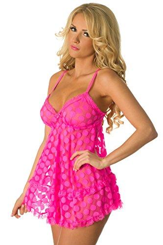 Velvet Kitten Sexy Dot Me Up Babydoll Pink Lingerie for Women 514295 Medium c55cd10ac