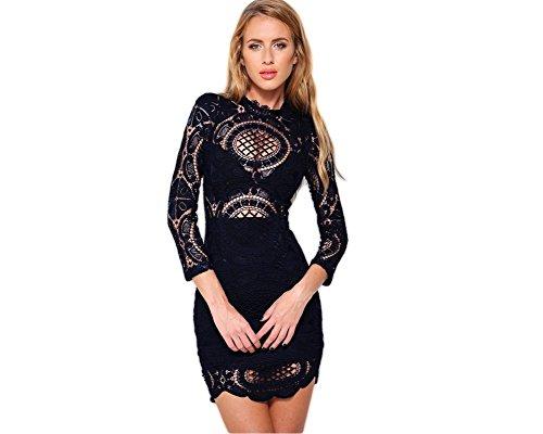 Vestidos De Fiesta Sexys Cortos Ropa De Moda para Mujer y Noche Elegante Casuales De Encaje Blancos Negros (S, White) VE0063