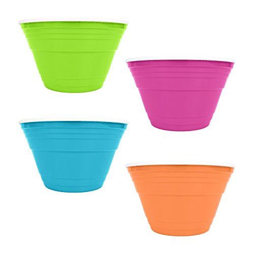 Set of 4 Neon Double Walled Serving Dinner Bowls! 15 cm x 9 cm - Reusable, Durable, BPA FREE, Dishwasher Safe! Serving Bowls Perfect for Parties, Kid's, Events, or Just Regular Use!