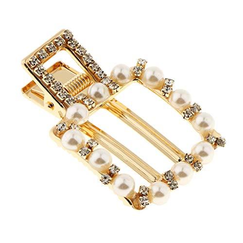 (Gold Pearls Rhinestone Hair Clip Pin Accessories Alligator Barrette (Size - Square))
