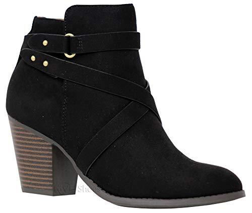 (MVE Shoes Women's Crisscross Buckle Bootie Side Zip High Stacked Block Heel Ankle Booties, Black Su Size 11)