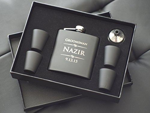 The Personalized Gift 6 Piece Custom Engraved Flask Gift Set, (Mini Liquor Gift Set)