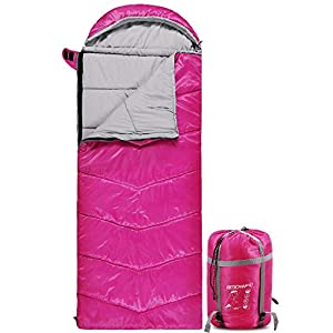 REDCAMP Kids Sleeping Bag for Camping with Detachable Hood, 40 Degree 3 Season Warm or Cold Weather Fit Boys, Girls & Teens (Rose Red with 3lbs Filling)