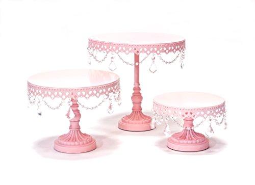 Opulent Treasures Chandelier Round Metal Wedding Birthday Cake Dessert Plate Stands, interchangeable pedestal base (Set of 3) (Light Pink) (Opulent Treasures)