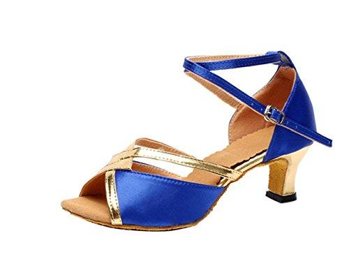 Femme Bleu Tango Pour Valse Chaussures Motif Talons Paillettes Roi Danse Salsa Hauts Fille Latins Gaorui Brillante fXdpq6q