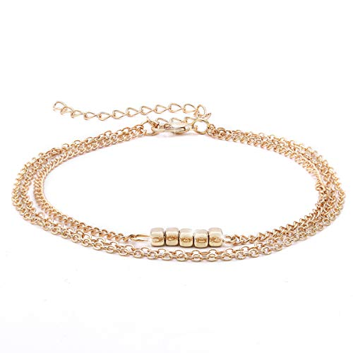 Crazy Feng Ankle Sterling Silver 14K Gold Adjustable Beach Anklet Bracelet Multi-Layer Foot Jewelry Set for Women,Girls (Cube-Gold)
