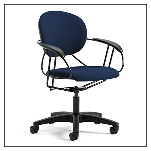 Steelcase Uno Multipurpose Office Chair with Mid-Rise Back and Carpet Casters | Black Frame and Navy Blue Fabric (Uno Desk Chair)