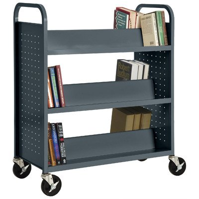Sandusky Lee SV336-02 Double Sided Sloped Shelf Welded Book Truck, 19'' Length, 39'' Width, 46'' Height, 6 Shelves, Charcoal