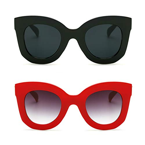 (Butterfly Sunglasses Semi Cat Eye Glasses Plastic Frame Clear Gradient Lenses (Black+Red, 45MM))
