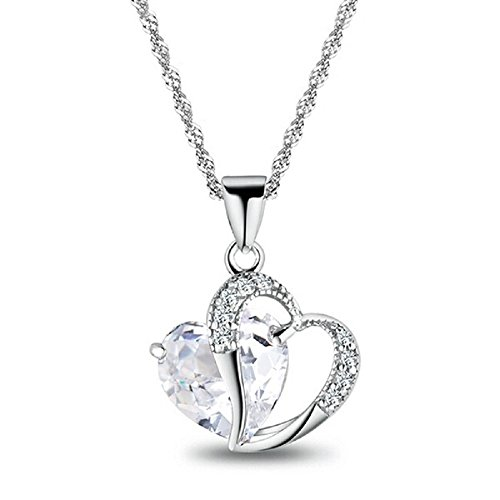 Sexy Mother Nature Costumes (Dastan Crystals Double Heart Shape Pendant Silver Plated Chain Necklace