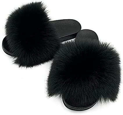 Details about  /AuapTavw Women/'s Faux Fur Slides Slippers Fluffy Fuzzy Sandals Open Toe Furry Sl