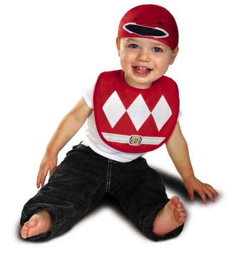 Disguise Baby Saban Power Rangers Mighty Morphin Red Ranger Infant Bib and Hat Costume, Red, 0-6 Mths (Kids Mighty Morphin Power Ranger Costume)