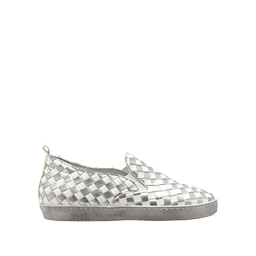 Laura Bellariva Silver/White Leather Woven Slip On Size 39 Gtc5yYl