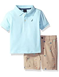 Nautica Boys' Polo Shirt with Plaid Flat Front Short Set