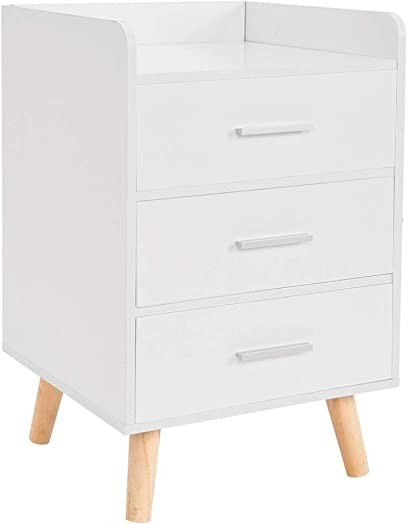 Nordic Nightstands 3 Layer Storage Drawer Bedside Table C-Type Guardrail Night Stand