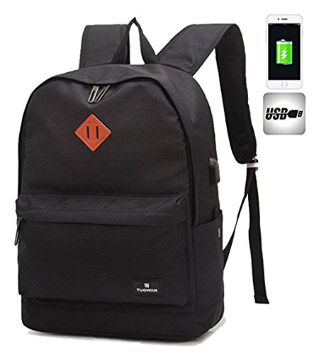 Quicksilk Canvas Oxford Lightweight School Backpacks Laptop Travel Bags with USB Charging Port (Black)