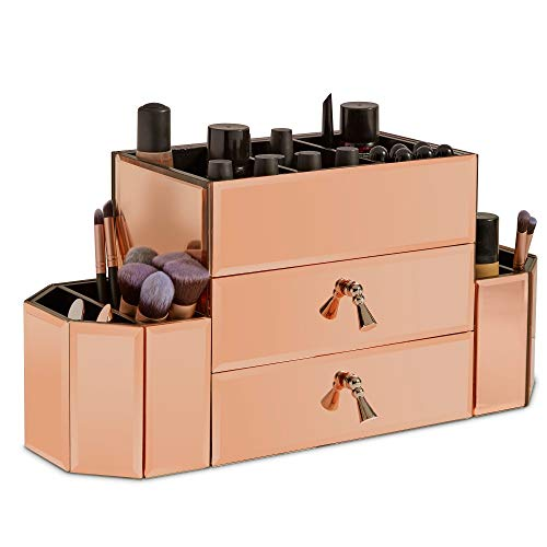 - Beautify Large Mirrored Rose Gold Glass Cosmetic Makeup Storage Organizer and Jewelry Box with 2 Drawers and 7 Sections with Silver Handles