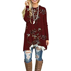 WEKILI Women's Tops Long Sleeve Lace Scoop Neck A-line Tunic Blouse