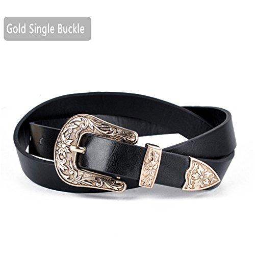 Rei Womens Belt - SHUNVFAN Women Vintage Carved Double Metal Pin Buckle Belts Strap Synthetic Leather Belt Gold Single Buckle 110cm 31 to 33 Inch