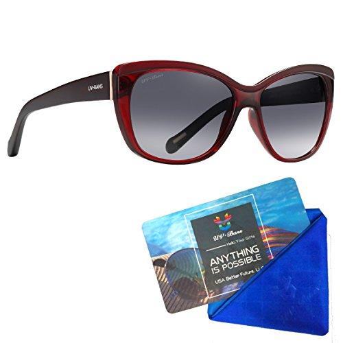 UV-BANS Women Designer Street Fashion Sunglasses,Tac Polarized UV400 Protection Lens,TR90 Unbreakable Frame (Burgundy Frame+Gradient Grey Lens)