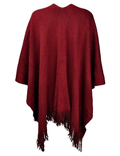 Invierno Zlyc De Fringe Con Lado both Capa Mujer Rojo Sintética Cachemira Oscuro Utilizable qwwHFW6x4E