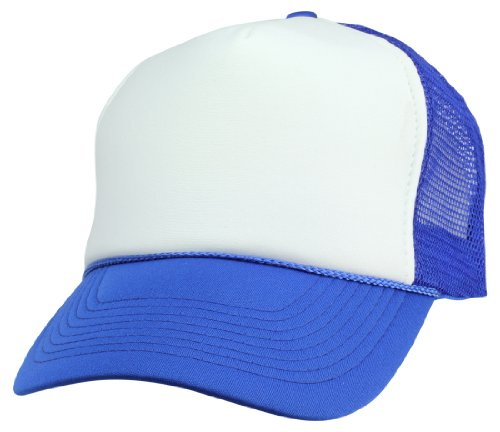 DALIX Mesh Cap Royal Blue and White Trucker Hat ,Medium