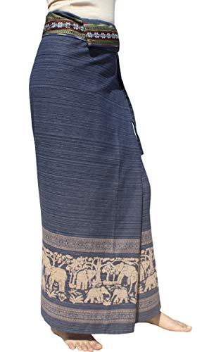 RaanPahMuang Striped Cotton Thai Tube Wrap Skirt with Floral Belt and Batik Art, X-Large, Dark ()