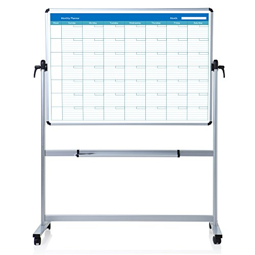 VIZ-PRO Double sided Magnetic Mobile Whiteboard, Monthly Planner, 48 x ()