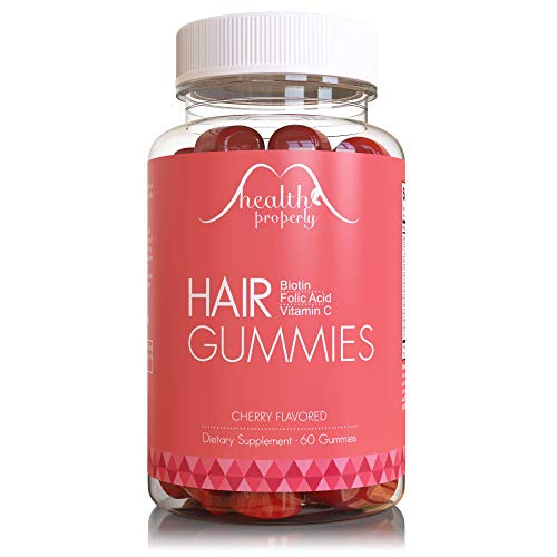 HEALTH PROPERLY - Hair Gummy Vitamins for Healthy Hair Growth | Scientifically Formulated 5000mcg Biotin Folic Acid | Hair Skin and Nails Vitamin | for All Types of Hair | Gummies for Women & for Men -