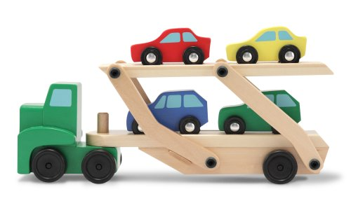 Melissa & Doug Car Carrier Truck and Cars Wooden Toy Set With 1 Truck and 4 Cars