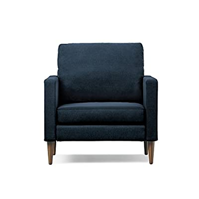 Campaign Steel Frame Brushed Weave Accent Chair, 33 Inches, Midnight Navy with Mahogany Stained Solid Oak Legs - Modern, customizable design allows you to pick the fabric color and wood finish legs that best suit your style; Easy, no tool assembly High resiliency foam cushions are designed for comfort and support to last for years Premium polyester blend covers have a Brushed Weave fabric for an incredibly soft texture, and can be hand-washed or spot cleaned with water and detergent (air dry only) - living-room-furniture, living-room, accent-chairs - 41HZQNjoS2L. SS400  -