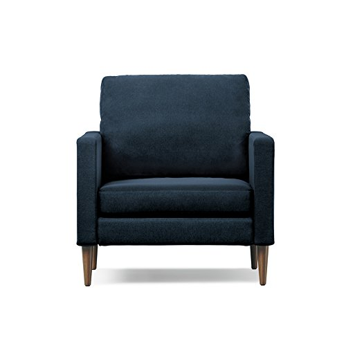 41HZQNjoS2L - Campaign Steel Frame Brushed Weave Accent Chair, 33 Inches, Midnight Navy with Mahogany Stained Solid Oak Legs