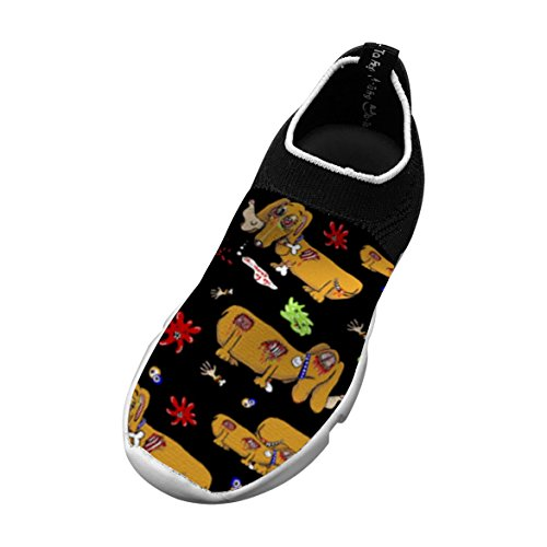 Zombie Dachshund Dog Customized Printing Children's Slip-on Flyknit Outdoor Sport Shoes